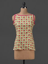Floral Printed Sleeveless Cotton Top - SHREE