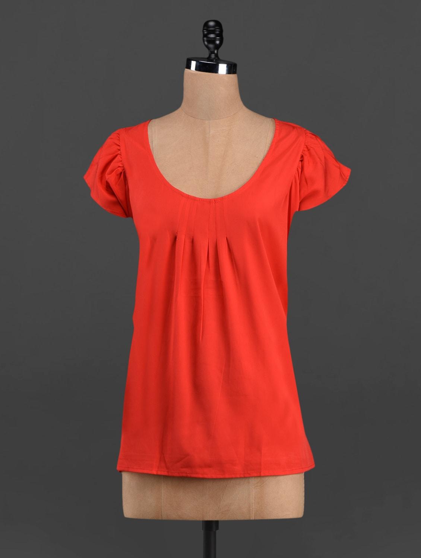 Round Neck Solid Red Top - LastInch