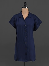 Dark Blue Solid Short Sleeve Shirt - LastInch