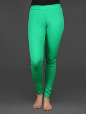Solid Green Stretchable Jeggings - EWA Women