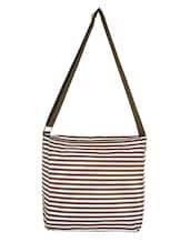 Brown Strips Printed Canvas Bag - By