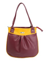 Color Block Pu Shoulder Bag - BEAU DESIGN