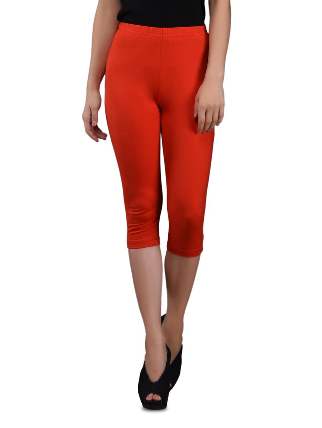 0a92b102a28 Buy Red Cotton Knit Lycra Knee-length Leggings for Women from Finesse for  ₹599 at 0% off