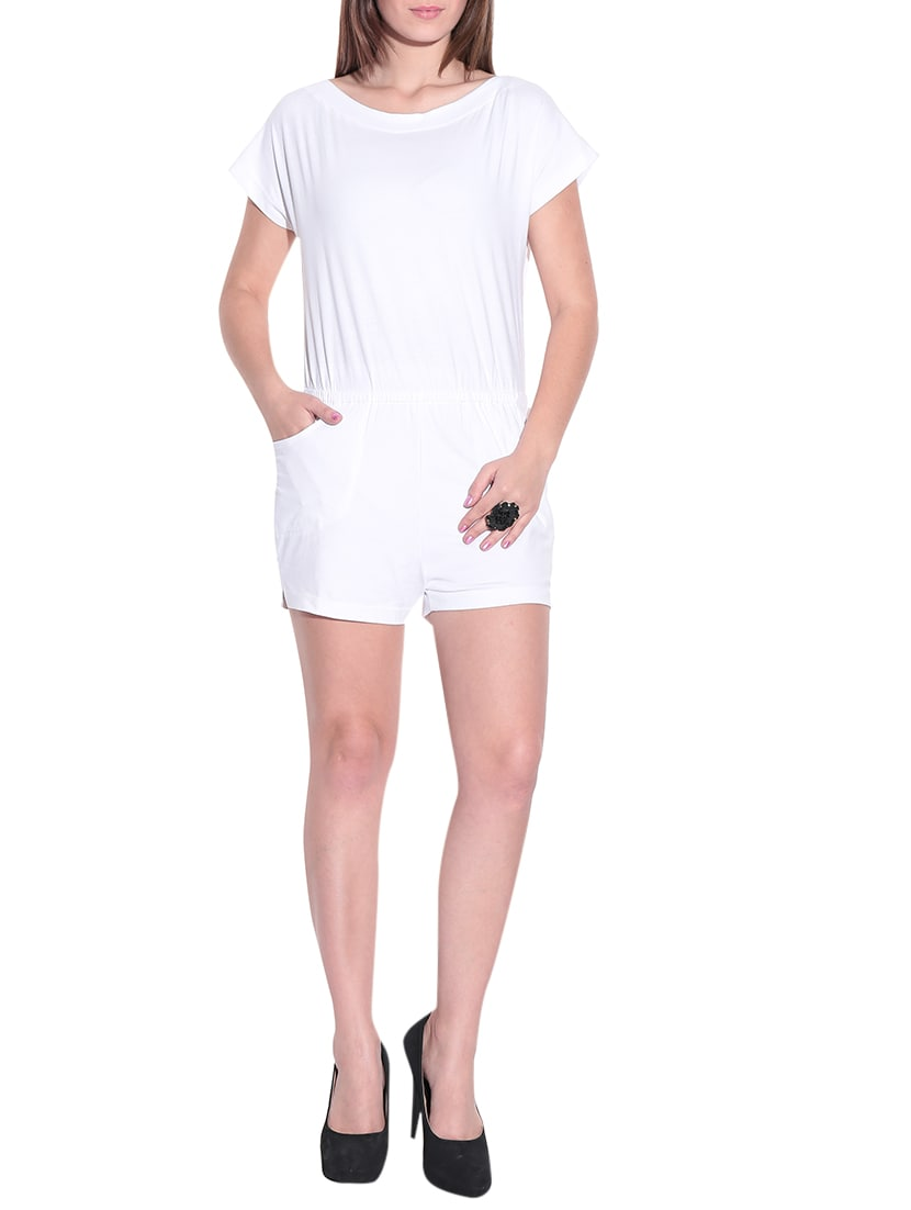 ddfd0dcd404 Buy White Cotton Lycra Boat Neck Romper by Finesse - Online shopping for  Jumpsuits in India