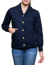 Navy Cotton Fleece Jacket -  online shopping for jackets