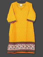 Yellow Printed Cotton Kurta - AYAN