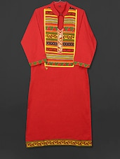 Red Cotton Kurti With Printed Panel - AYAN