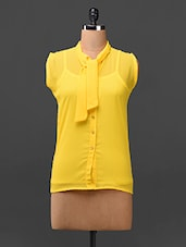 Yellow Neck Tie-up Georgette Top - London Off