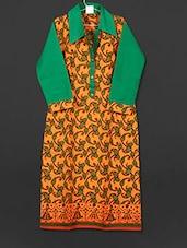 Orange Paisley Printed Collared Cotton Kurti - AYAN