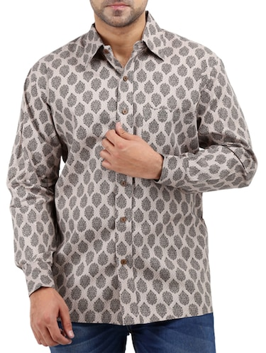 beige cotton casual shirt - 10819294 - Standard Image - 1
