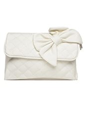 Bow Embellished Quilted White Sling Bag - Lass Lee
