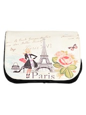Paris Printed Flap Leatherette Sling Bag - Lass Lee