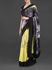 Graphic Face Print & Egg Print Crepe Saree - I AM TROUBLE BY KC