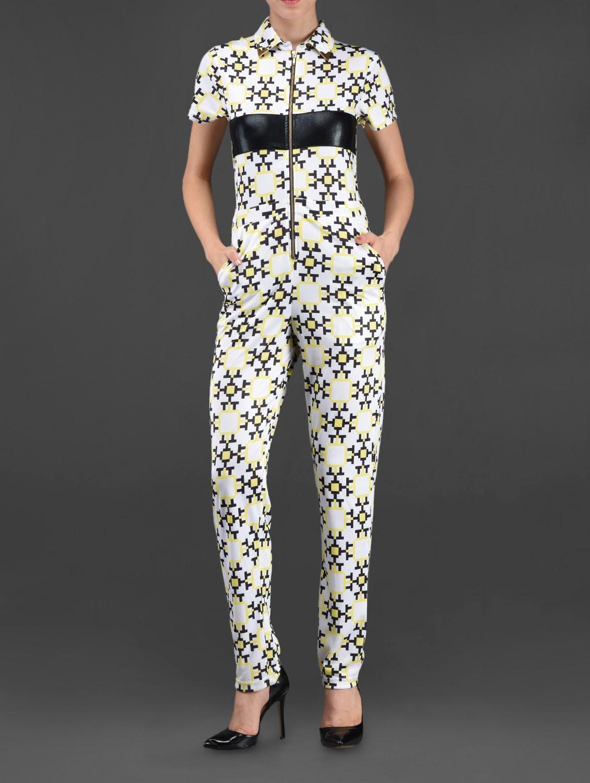 Geometric Print Front Zipper Jumpsuit - I AM TROUBLE BY KC