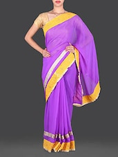 Purple With Yellow Color Border Chiffon Saree - Utsav
