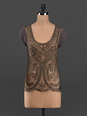 Embroidered Sheer Front Short Sleeve Top - RENA LOVE