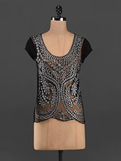 Black Embroidered Sheer Front Short Sleeve Top - RENA LOVE