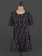 Mini Floral Printed Black Mini Shift Dress - RENA LOVE