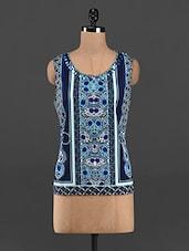 Blue Ethnic Printed Sleeveless Top - RENA LOVE