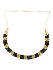 Golden & Black Seed Beads Bib Necklace - Voylla