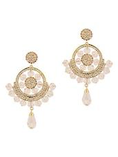 Gold Plated White Beads Dangler Earrings - Voylla