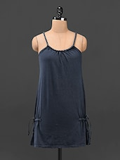 Braided Strap Navy Blue Knitted Long Top - Butterfly Wears