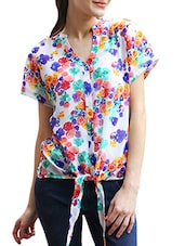 Floral Printed Front Knot Georgette Top - Meiro