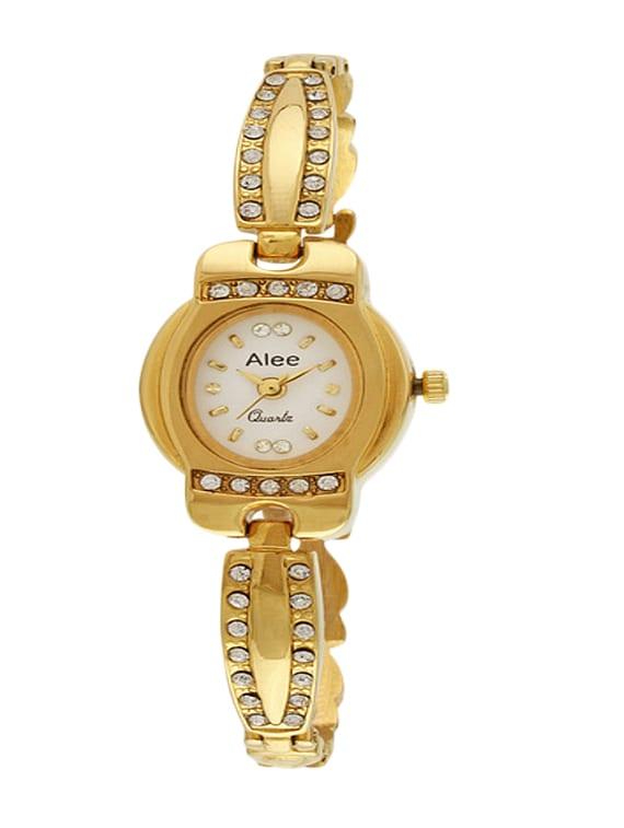 golden analog studded wrist watch