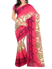 Printed Pink And Beige Georgette Saree - Ambaji