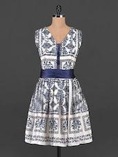 Cream And Navy Blue Printed Dress - MARMALADE
