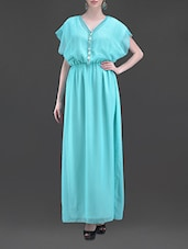 Aqua Blue Embellished Poly Georgette Maxi Dress - MARMALADE