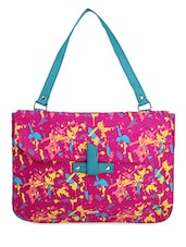 Pink Abstract Printed Leatherette Laptop Bag - YELLOE