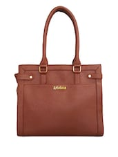 Brown Leatherette Formal Hand Bag - Toteteca