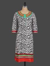 Zebra Print Round Neck Cotton Kurti - Drashti