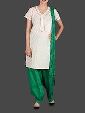 Green Cotton Patiala Salwar With Dupatta - Drashti Patialas