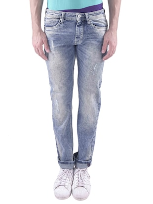 blue cotton ripped jeans -  online shopping for Jeans