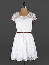 Short Sleeve Round Neck Lace Dress - Yufta