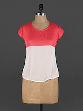 Round Neck Short Sleeve Two Tone Top - Yufta