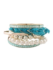 Blue Lace Pearl Beaded Bracelet Set - Young & Forever