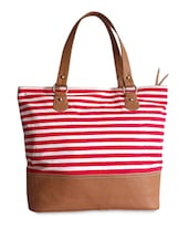 Red And White Striped Canvas Handbag - Carry On Bags