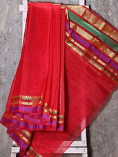 Zari Woven Border Red Saree - Shiva Saree