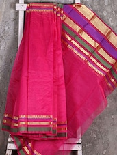 Zari Woven Border Pink Saree - Shiva Saree