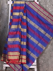 Striped Zari Woven Blue Base Kota Saree - Shiva Saree