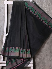 Floral Woven Border Solid Black Saree - Shiva Saree