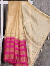 Pink Border Golden Manipuri Net Saree - Shiva Saree