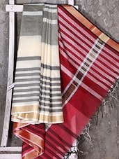 Zari Border Woven Striped Kora Saree - Shiva Saree