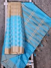 Woven Checked Sky Blue Saree - Shiva Saree