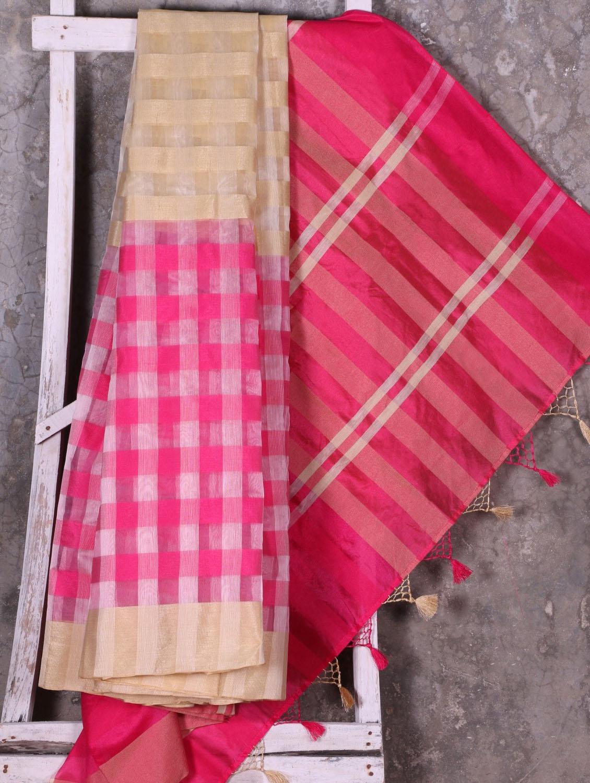 Pink Woven Checked Saree - Shiva Saree