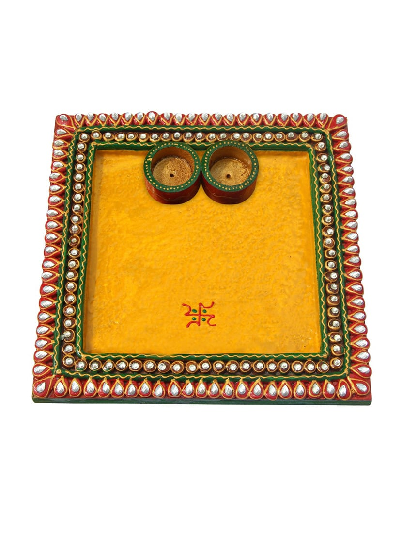 Buy Pooja Thali Square Shaped In Papier Machie By Handicrafts