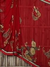 Floral Printed Red Georgette Saree - Saree Street